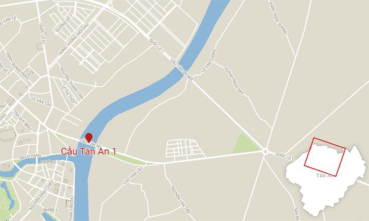 Vị trí cầu Tân An 2 nằm kế bên cầu Tân An 1.
