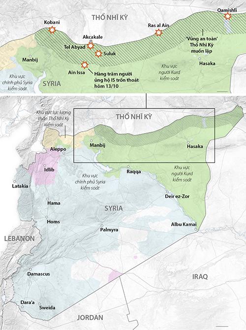 Khu vực an toàn Thổ Nhĩ Kỳ muốn lập tại đông bắc Syria. Đồ họa: WSJ.