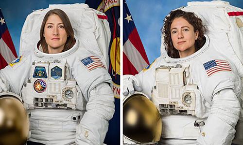 Chân dung Christina Koch (trái) và Jessica Meir. Ảnh: NASA.