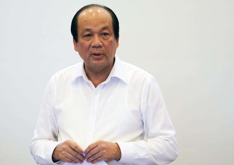 Bộ trưởng Chủ nhiệm văn phòng chính phủ Mai Tiến Dũng phát biểu tại buổi làm việc với TP Hà Nội chiều 16/10. Ảnh: Võ Hải.