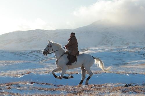 Lãnh đạo Triều Tiên Kim Jong-un cưỡi ngựa trắng trên núi Paektu. Ảnh: KCNA.