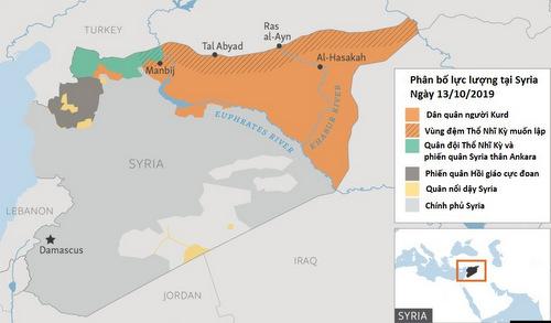 Tình hình các phe phái kiểm soát lãnh thổ Syria hôm 13/10. Đồ họa: RFE.
