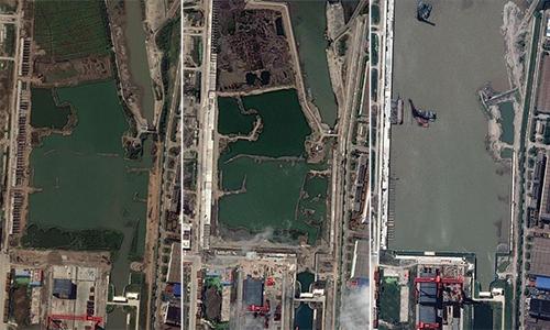 Ảnh vệ tinh nhà máy đóng tàu Giang Nam, ngoại ô Thượng Hải, Trung Quốc vào tháng 10/2018 (trái), tháng 4/2019 (giữa) và tháng 9/2019 (phải). Ảnh: CSIS.