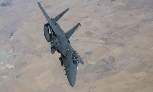 Tiêm kích F-15E Mỹ hoạt động tại Trung Đông hồi cuối tháng 9. Ảnh: USAF.