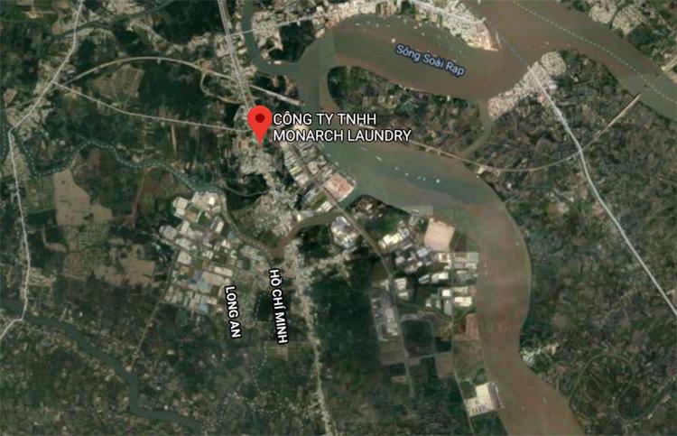 Vị trí công ty bị phát hiện xả thải trực tiếpra sông. Ảnh: Google maps