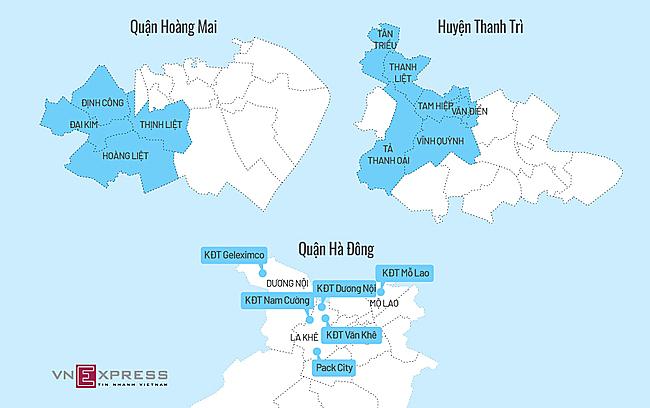 Những khu vực đang dùng nước sông Đà (bấm vào hình để xem chi tiết). Đồ họa: Tiến Thành.