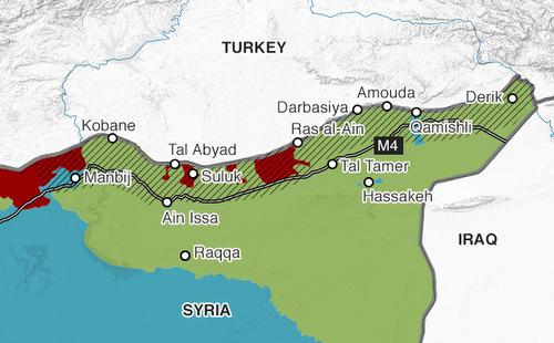 Vùng kiểm soát của quân đội Thổ Nhĩ Kỳ (đỏ) và dân quân Kurd (xanh lá) ở miền bắc Syria hôm 16/10. Đồ họa: BBC.