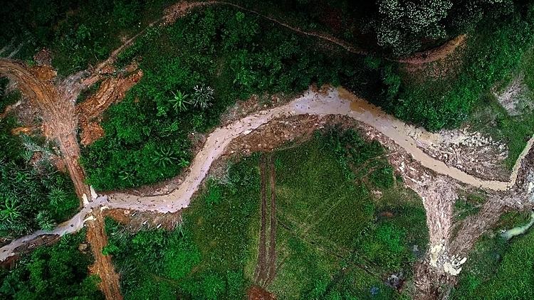 Máy xúc dọn dầu thải đầu nguồn nhà máy nước sông Đà - 1