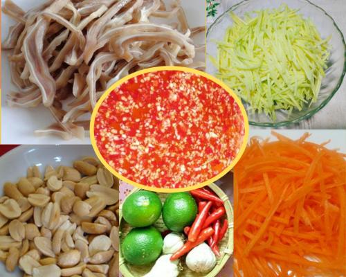 Các nguyên liệu cần có cho món nộm xoài tai heo chua ngọt.
