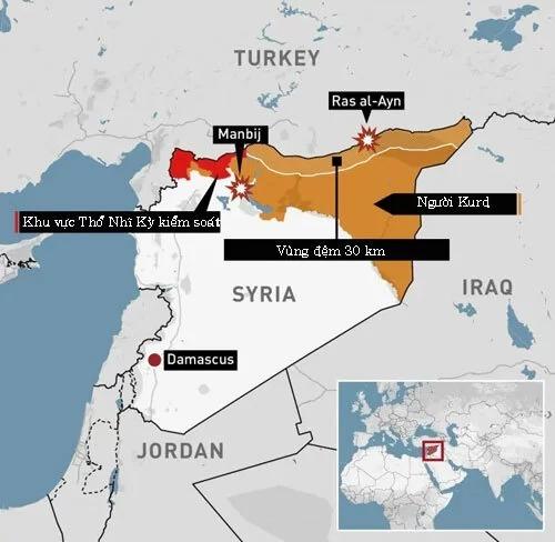 Khu vực kiểm soát của Thổ Nhĩ Kỳ và người Kurd ở đông bắc Syria. Bấm vào ảnh để xem chi tiết. Đồ họa: CBS.