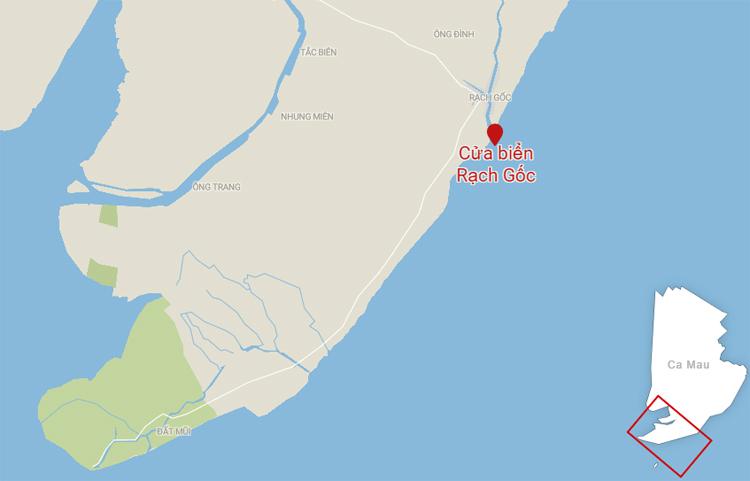 Vị trí cửa biển Rạch Guốc ở huyện Ngọc Hiển. Ảnh: Datawrapper.
