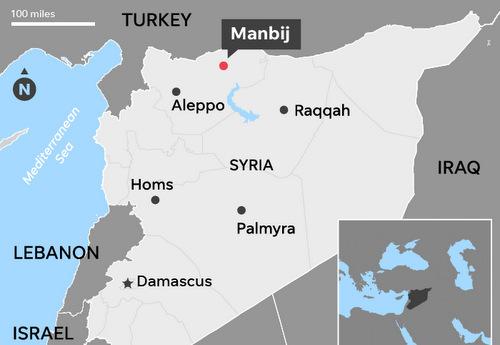 Vị trí thành phố Manbij. Đồ họa: USA Today.