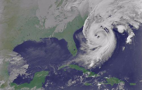 Siêu bão Wilma (2005) với mắt kép. Ảnh:NASA