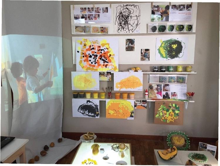 Các sản phẩm sáng tạo của trẻ tại trường học sử dụng phương pháp Reggio Emilia.