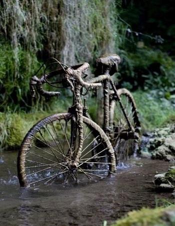 Chiếc xe đạp hóa đá do khoáng chất từ nước giếng. Ảnh: Vintage News.
