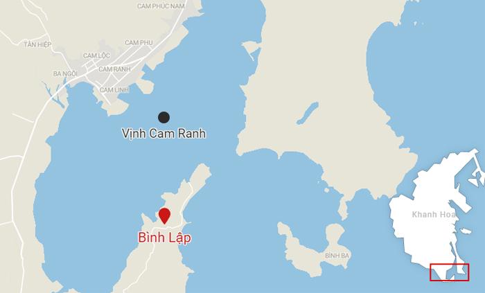 Vị trí đảo Bình Lập,xã CamLập, TP Cam Ranh. Ảnh: Datawrapper.