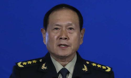 Bộ trưởng Quốc phòng Trung Quốc Ngụy Phượng Hòa phát biểu tại Diễn đàn Hương Sơn ởBắc Kinh hôm nay. Ảnh: AP.