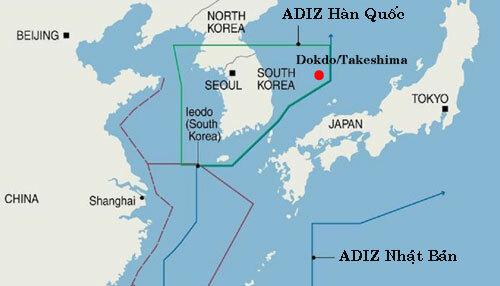 ADIZ của Hàn Quốc trên vùng biển phía đông. Đồ họa: AFP.