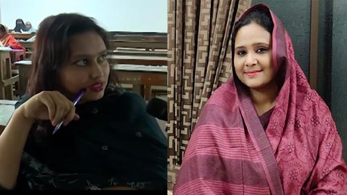 Nghị sĩ Tamanna Nusrat (phải) và bản sao xuất hiện trên truyền hình của cô. Ảnh: Nagorik TV/ Twitter Tamanna Nusrat.