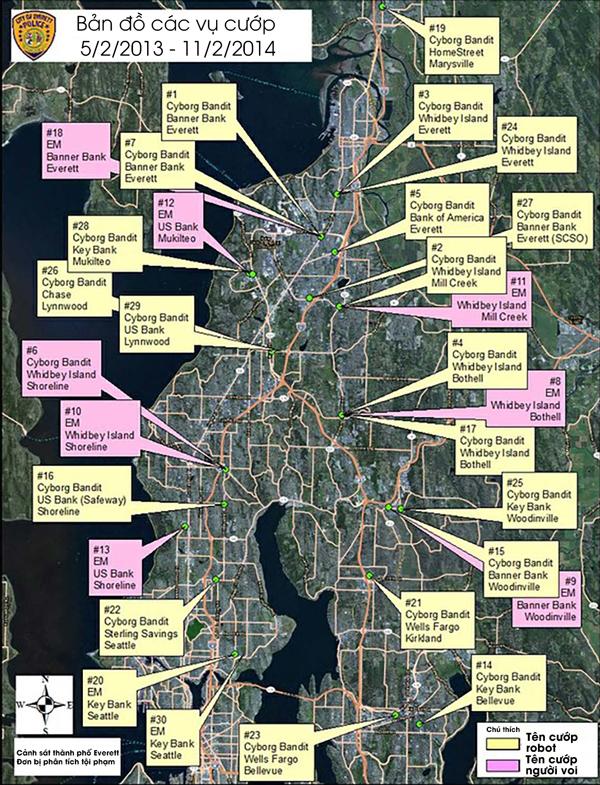 Bản đồ những nơi Anthony đã cướp. Ảnh: FBI.