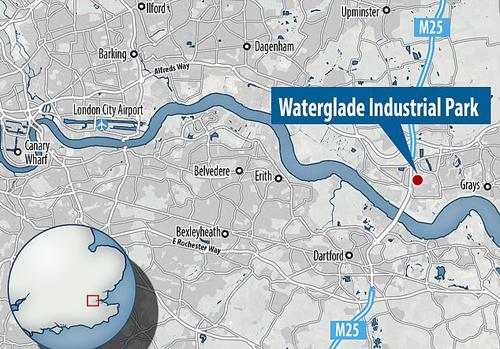 Vị trí khu công nghiệp Waterglade, nơi xe container được phát hiện. Đồ họa: Sky News.
