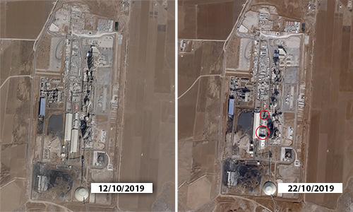 Nhà máy xi măng Lafarge tại miền bắc Syria trước và sau vụ không kích của Mỹ, vị trí các tòa nhà bị phá hủy được khoanh đỏ. Ảnh: Drive.