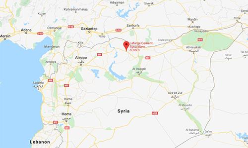 Vị trí nhà máy xi măng Lafarge tại Syria (đánh dấu đỏ). Đồ họa: Google.