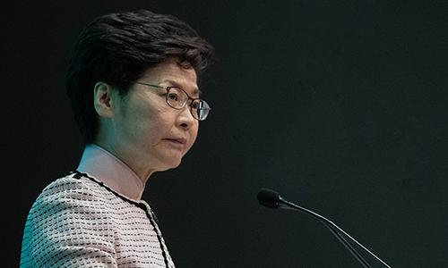 Trưởng đặc khu Hong Kong Carrie Lam công bố sáng kiến về nhà đất ở Hong Kong trong cuộc họp nội các hôm 16/10. Ảnh: Reuters.