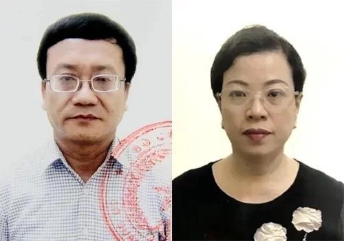 Bị can Nguyễn Quang Vinh và Diệp Thị Hồng Liên. Ảnh: Công an cung cấp.