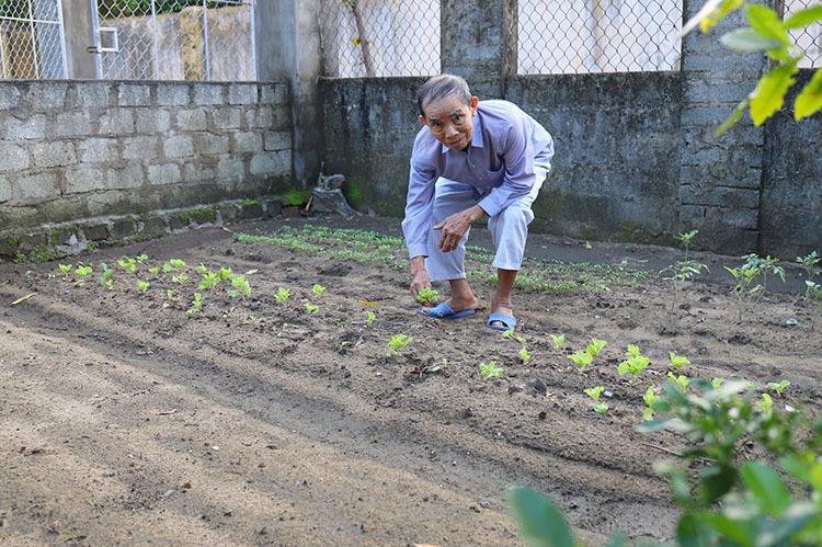 Ông Sơn cùng vợ cải tạo vườn trồng rau, thỉnh thoảng bán lấy tiền mua thức ăn. Ảnh: Đức Hùng