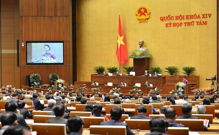 Các đại biểu Quốc hội tại phòng họp Diên Hồng, toà nhà Quốc hội. Ảnh: Hoàng An