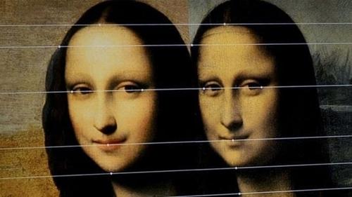 So sánh giữa bức Mona Lisa cũ và bức tranh nổi tiếng được trưng bày tại bảo tàng Lourve. Ảnh: AFP.