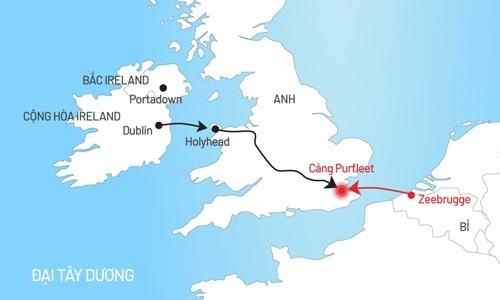 Tuyến đường xe container chở 39 người vào Anh (bấm vào hình để xem chi tiết). Đồ họa: Tiến Thành.