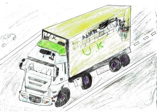 Ahmad vẽ chiếc xe container đưa anh em mình từ trại di dân ở Pháp vào Anh. Ảnh: BBC.
