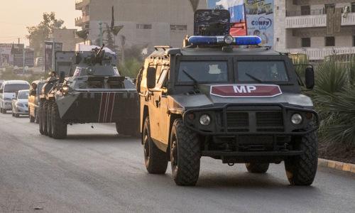 Russian police patrol Amuda city, northern Syria on October 24. Photo: AP.