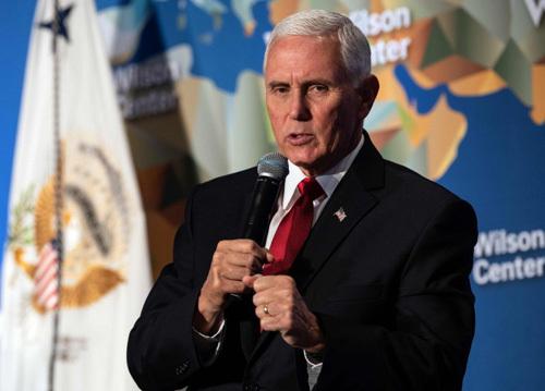 Phó tổng thống Mỹ Mike Pence phát biểu tại Trung tâm Wilson ở thủ đô Washington hôm qua. Ảnh: AFP.