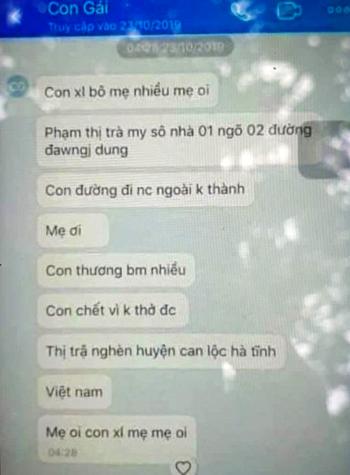Tin nhắn ngày 23/10 của Trà My gửi về cho mẹ.