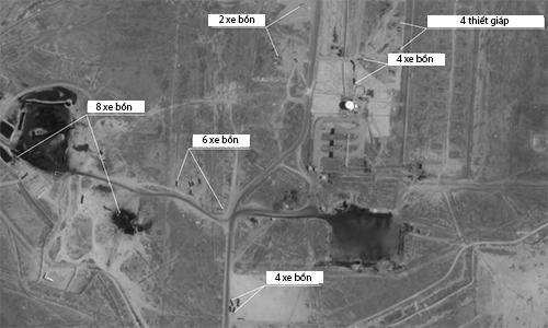 24 xe bồn và 4 thiết giáp tại tỉnh Deir ez-Zor ngày 8/9, Bộ Quốc phòng Nga cho biết có 32 xe bồn ở đây tham gia buôn lậu dầu tại thời điểm vệ tinh chụp ảnh. Ảnh: BQP Nga.