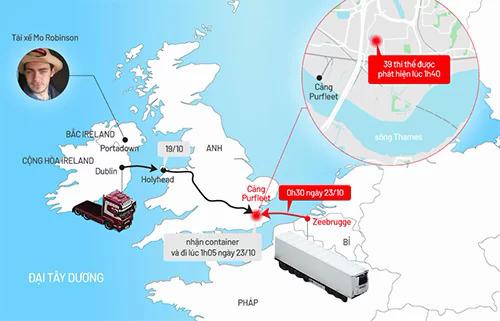 Tuyến đường xe container chở 39 người vào Anh. Xem tại đây.