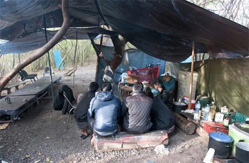 Nhóm người Việt chờ tay buôn người đến đưa sang Anh tại khu trại trong rừng ở thành phố Bethune, miền bắc Pháp hôm 27/10. Ảnh: Sun
