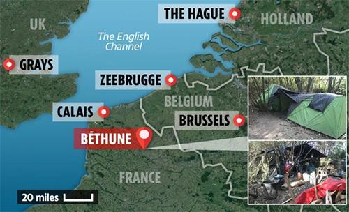 Vị trí của Bethune, Pháp, nơi nhóm người Việt đang trú ngụđể chờ đến Calais hoặc sang Bỉ rồi vượt biển sang Anh. Đồ họa: Sun