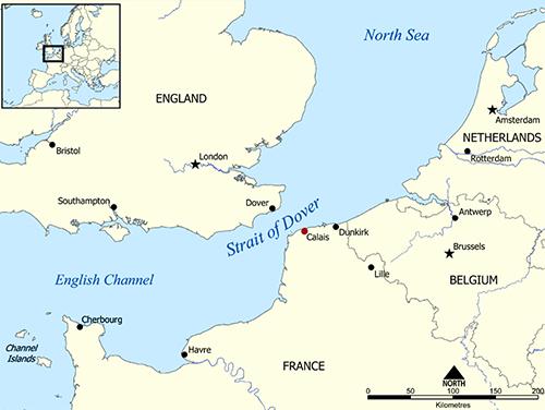 Vị trí của Calais (chấm đỏ), Pháp, nằm bên eo biển Dover, một phần của eo biển Manche, dẫn sang Anh. Đồ họa: Wikipedia