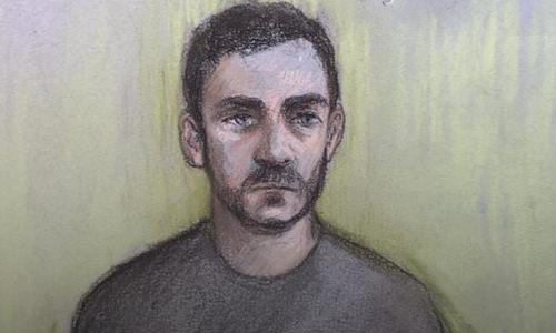 Tranh vẽ Robinson trong phiên xử ngày 28/10. Ảnh: Tòa án Chelmsford.