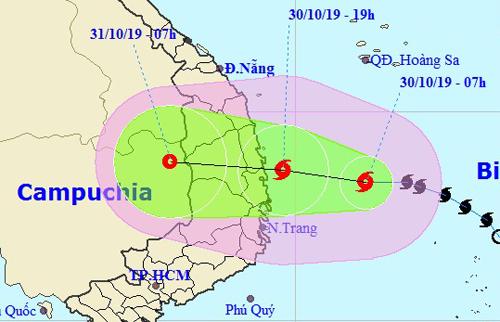 Hướng đi của bão Matmo theo dự báo của cơ quan khí tượng Việt Nam. Ảnh: NCHMF.