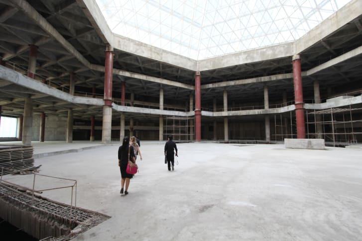 Inside the Ryugyong Hotel in Pyongyang in 2012. Photo: Simon Cockerell.