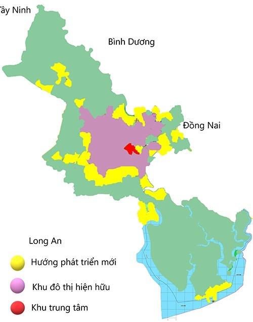 Các hướng phát triển (màu vàng) của TP HCM. Đồ hoạ: Nguyễn Tâm.