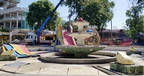 Quá trình chỉnh trang, thành phố sẽ giữ lại một số công trình, hạng mục từng làm lên tên tuổi của vườn hoa Kim Đồng như đài phun nước con cóc. Ảnh: Giang Chinh