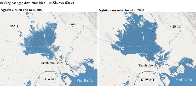 Vùng ngập trong nước biển ở Basranăm 2050 trong dự báo cũ và dự báo mới. Đồ họa: New York Times.