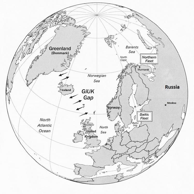Các hướng di chuyển qua eo biển GIUK. Đồ họa: CIA.