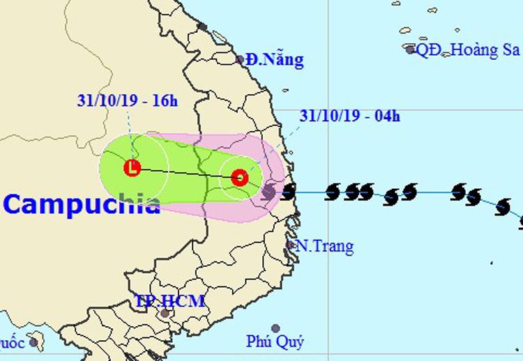 Hướng đi của áp thấp nhiệt đới của Trung tâm dự báo Khí tượng Thủy văn Quốc gia. Ảnh: NCHMF